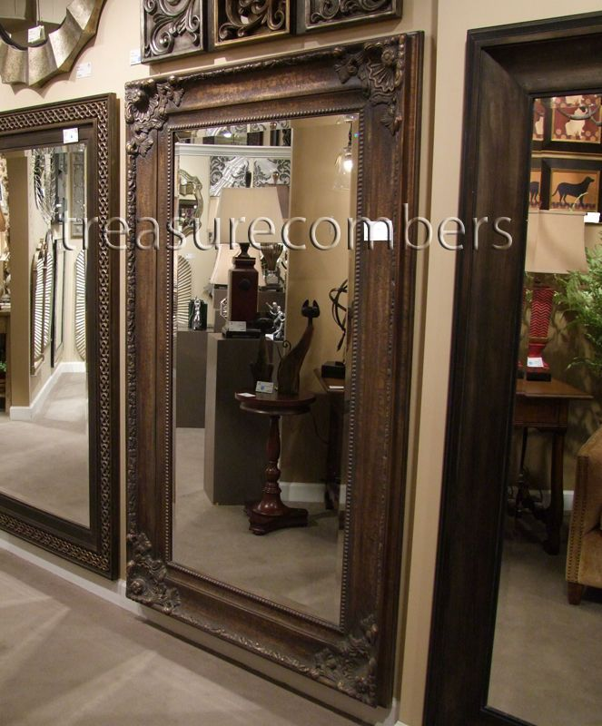 "XL Tuscan Ornate 75"" Old World Deep Bronze Wall Floor MIRROR Large Full Length"