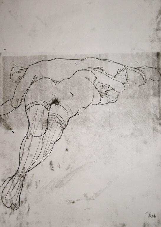 """Saatchi Online Artist: Michael Lentz; Monotype, 2012, Printmaking """"COUPLE No, 339"""""""