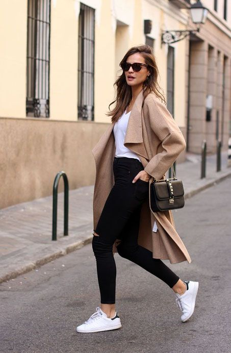 camel coat + black denim + adidas sneakers