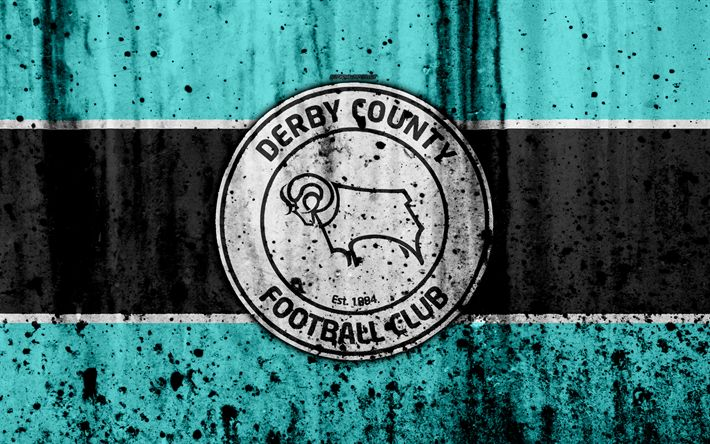 Download wallpapers 4k, FC Derby County, grunge, EFL Championship, art, soccer, football club, England, Derby County, logo, stone texture, Derby County FC