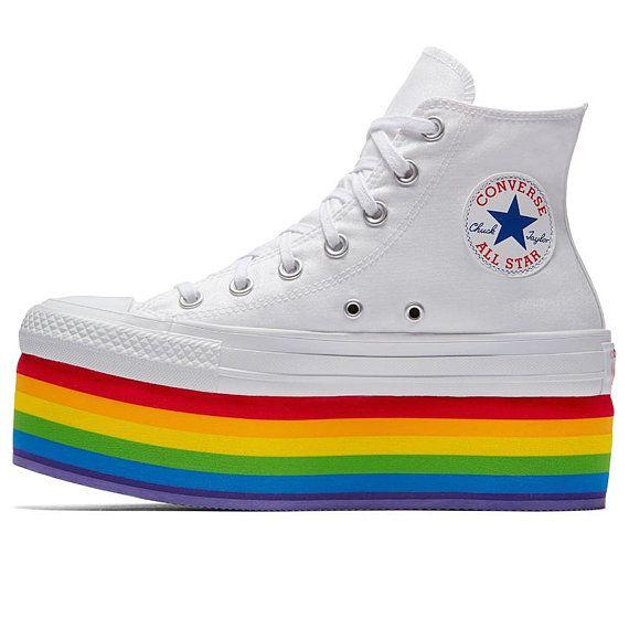 Rainbow converse, Pride shoes, Converse