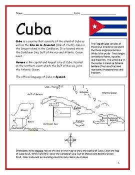 Cuba Printable Interactive Handouts With Map And Flag Geography