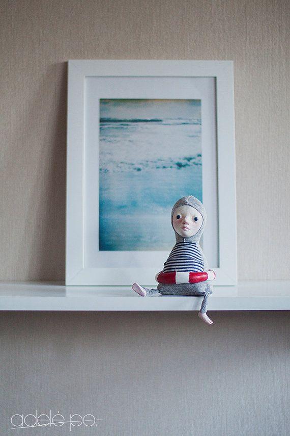 Muñeca del arte de nadador - mar inspirado, muñecas de arte, arte marino, estilo navy, decoración náutica, decoración playa, nadador regalo, regalo de amante de océano