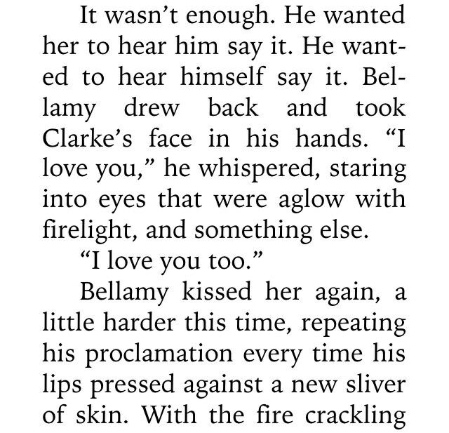 I love that the producers keep saying Bellarke won't happen like uh did you read the book haha? Bellarke happens!!