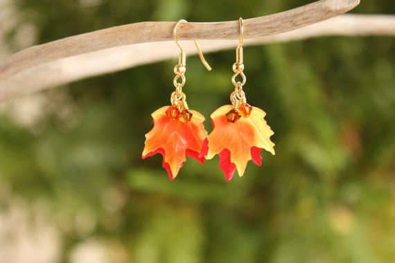 Fall Leaf Earrings Maple Leaf Earrings Autumn by DRaeDesigns