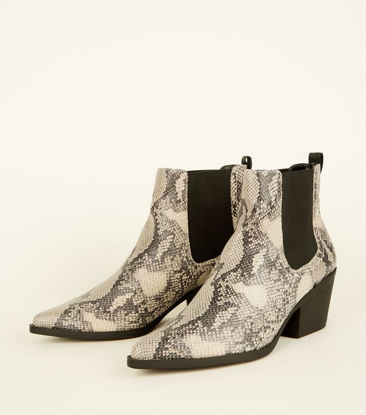 a27fad1d8bb Black Faux Snakeskin Chelsea Boots Add to Saved Items Remove from ...