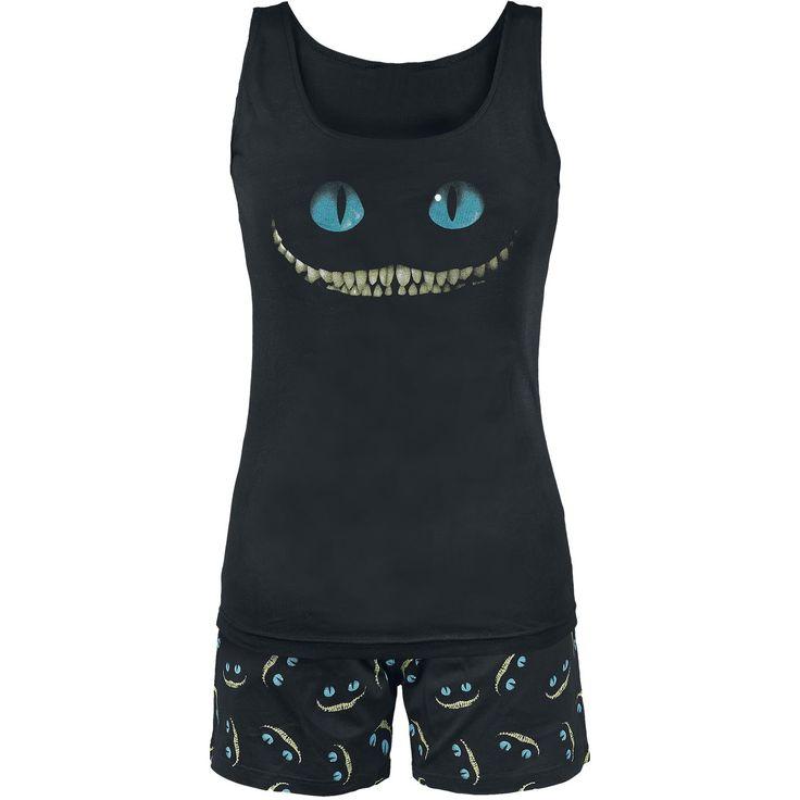 "Alice In Wonderland Pijama, Mujer ""Smile"" Negro • EMP"