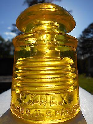 Antique Glowing Yellow Glass Insulator --- Pyrex CD # 128 !!!