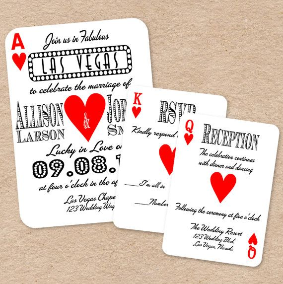 Playing Card Wedding Suite including: Invitation, Response Card, /Directions Card by Decorable Designs