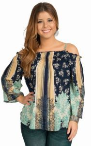 Angie Women's Navy Smocked Top | Cavender's