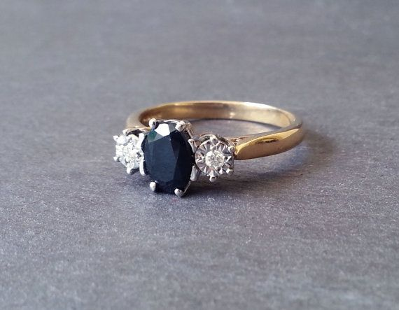 Vintage Sapphire Engagement Ring, Diamond Ring, Engagement Ring, Gold Sapphire & Diamond Ring, Vintage Wedding Jewelry, Wedding Band