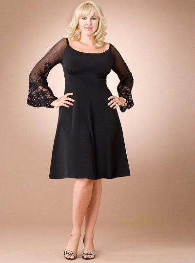 Buyuk Bedenler Icin En Sik 2020 Abiye Elbise Modelleri Siyah Dizboyu Uzun Kollu Genis Yaka Dantel Detayli Resmi Elbise The Dress Elbise Modelleri