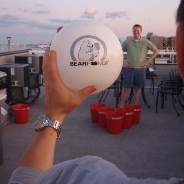 BEARPONG is oversized portable beer pong that can be played anywhere! It does not require tables making it perfect for the beach, tailgates, lake side, cookouts