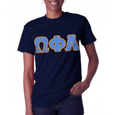 Omega Phi Alpha Letter T-Shirt - Gildan 5000 - TWILL