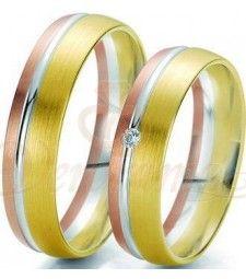 Βέρες γάμου τρίχρωμες με διαμάντι Breuning 6205-6206