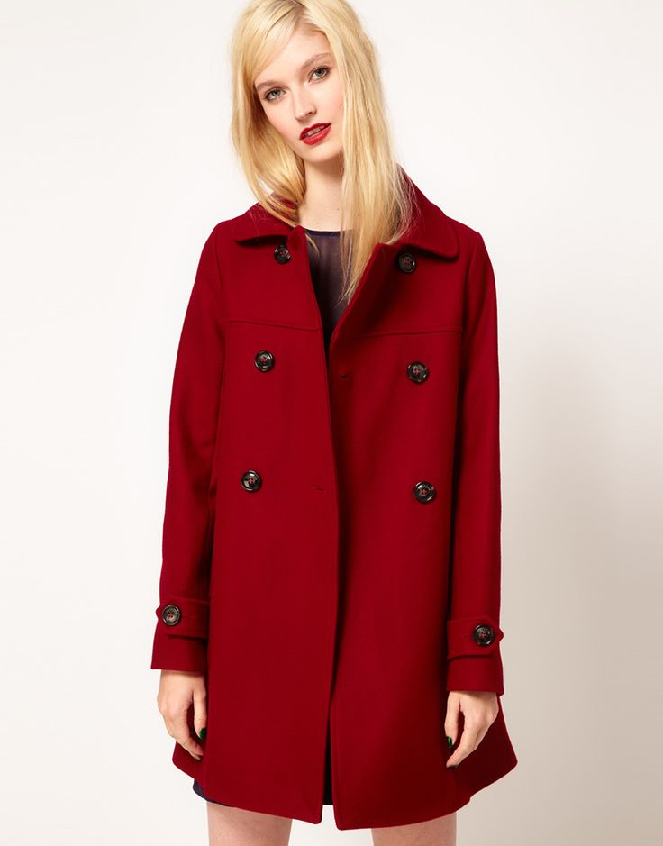 red wool coat for fall
