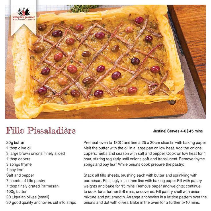 Recipe for Fillo Pissaladiére
