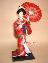 Japanese Kimono Geisha Humanoid dolls for Home and Sushi Restaurant Decorations / Gift Red Kimono Support Umbrella Beauty Doll(China (Mainland))