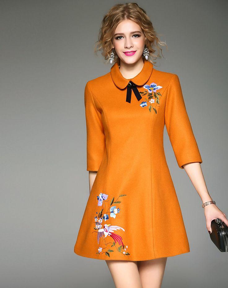 #AdoreWe Qeexi Dark Yellow Embroidery A Line Half Sleeve Woolen Dress - AdoreWe.com
