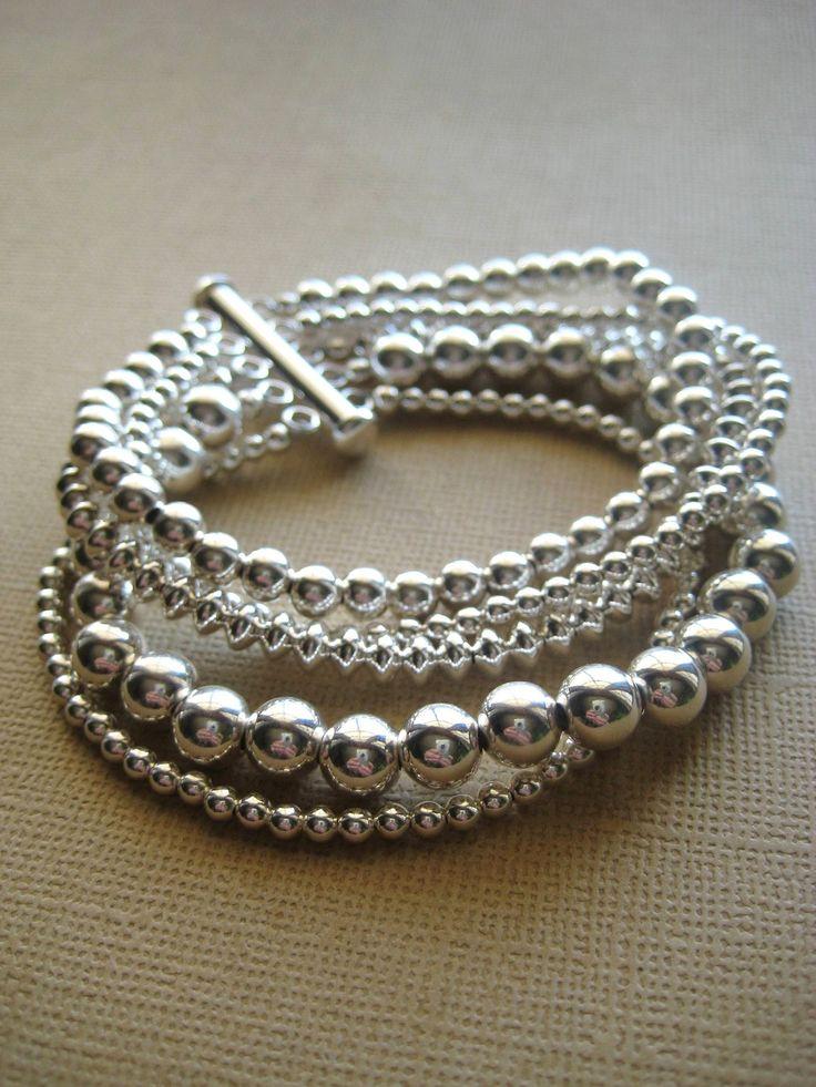 Sterling Silver Bracelet, Silver Bracelet, Multi-strand by JewelryMadebyMaggie via Etsy