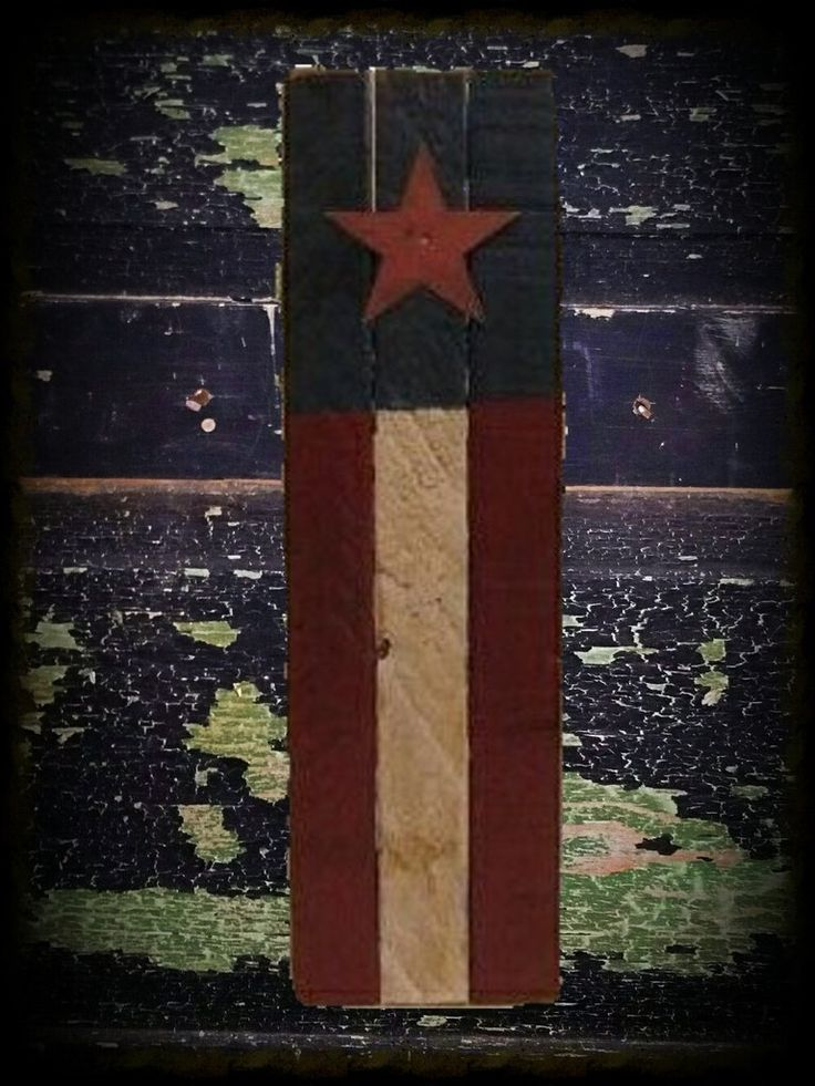 "This small lath flag is a great addition to any Americana decor. It is 3 lath wide and 16"" long. It comes with a rusty wire hanger. You have the choice of whether you want your flag to hang vertically"