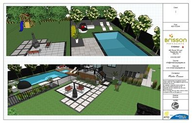 Design 3d plan d 39 am nagement paysager 3d cour arri re for Amenagement exterieur 3d