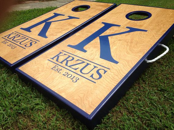 Real Birch Stained Custom Personalized Cornhole Board Sets on Etsy, $215.00