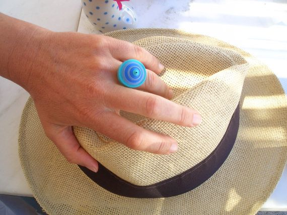 Summer jewelry - Eco-friendly blue, turquoise, grey paper round ring with an…