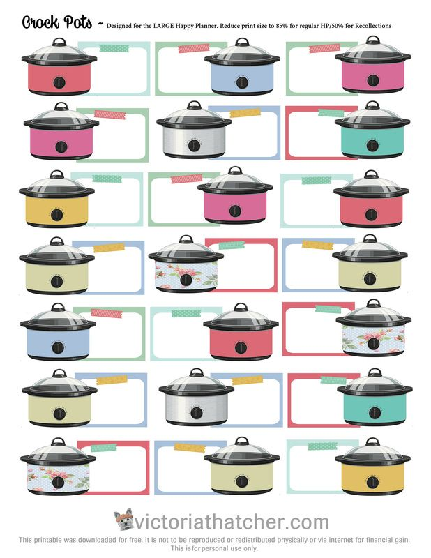 Free Printable Crockpots Planner Stickers from Victoria Thatcher
