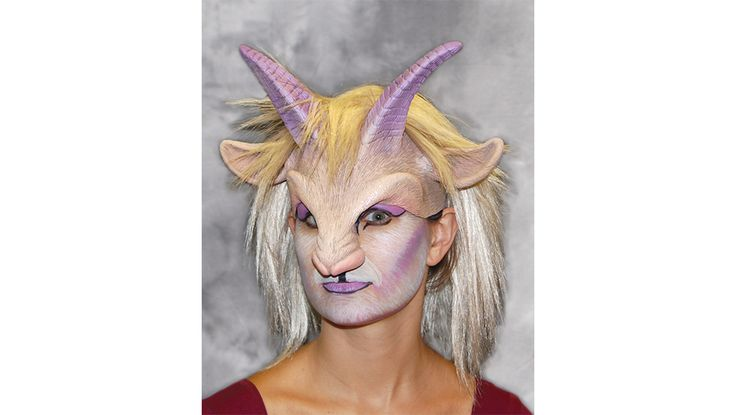 Goat'ress Female Goat Head Piece Mask SKU: H1002 Expert Female Goat head-piece sculpt with professional wig  - great with or without makeup.Comfortable and easy to wear. Open lower half of mask allows you to eat and drink while wearing it.