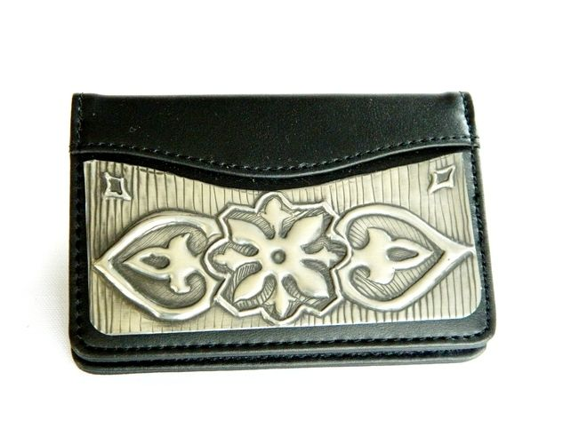 Leather Credit Card Holder Pewter Modern Design £14.00