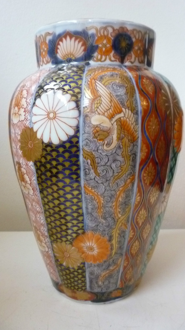 Japanese Fluted Imari Vase with Brocade Designs Mon and Phoenix C 1900 Signed | eBay