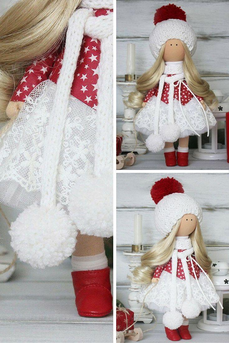 Christmas doll handmade white red soft doll by AnnKirillartPlace