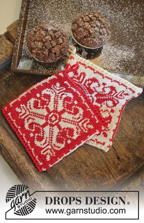 "Baking Christmas - DROPS Christmas: Knitted DROPS pot holder with Nordic pattern in ""Muskat"". - Free pattern by DROPS Design"