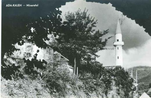 BU-F-01073-5-06543 Minaretul moscheii de pe insula Ada Kaleh (insulă pe Dunăre, acoperită în 1970 de apele lacului de acumulare al hidrocentralei Porțile de Fier I), s. d. (sine dato) (niv.Document)