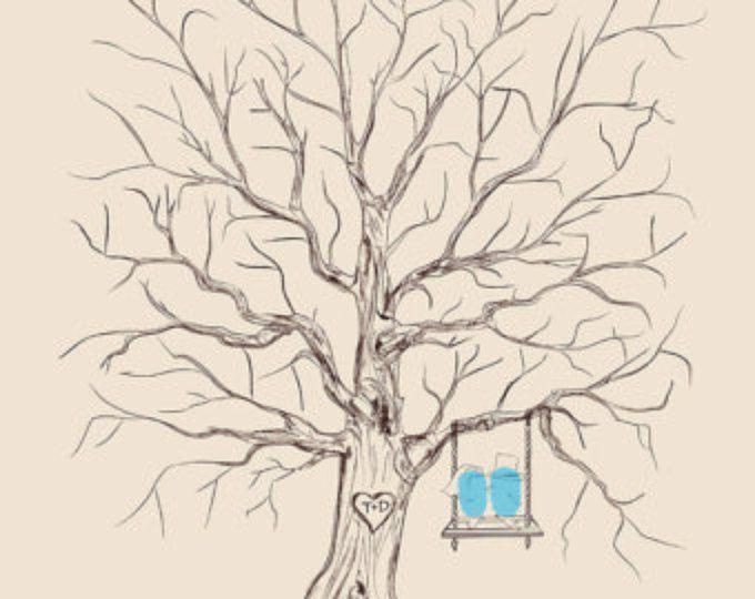 Un personalizado boda invitado libro alternativos boda boda libro de visitas de pulgar huella árbol personalizado boda amor aves en columpio