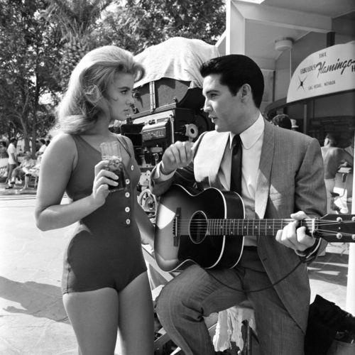 Ann-Margret and Elvis taking a break during the filming of Viva Las Vegas