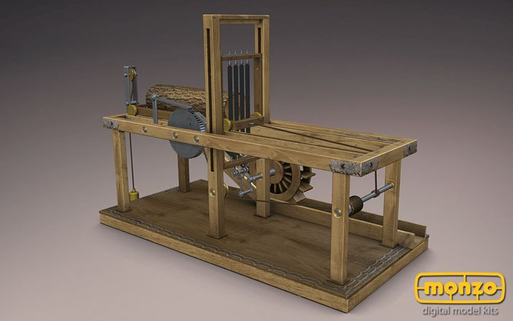 Leonardo Da Vinci strikes again! Leonardo designed this Water Saw based on the older design from Francesco di Giorgio. Leonardo's model has special machinery part, which holds piece of wood firmly in place for clean cut from the saw. Construct this marvelous machine from Leonardo's manuscripts, paint it and add it into your collection in #Monzo #DaVinci
