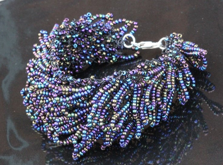 Knitting With Wire And Beads : Knitted bracelet using wire and beads crochet jewelry