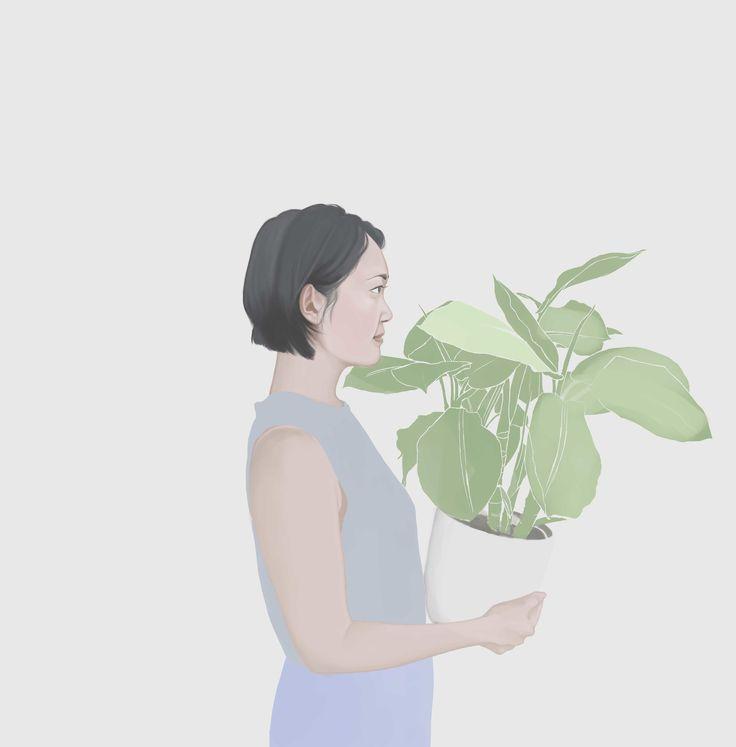 Liz-with-plant by Hannah Blair www.hannahblairillustration.com