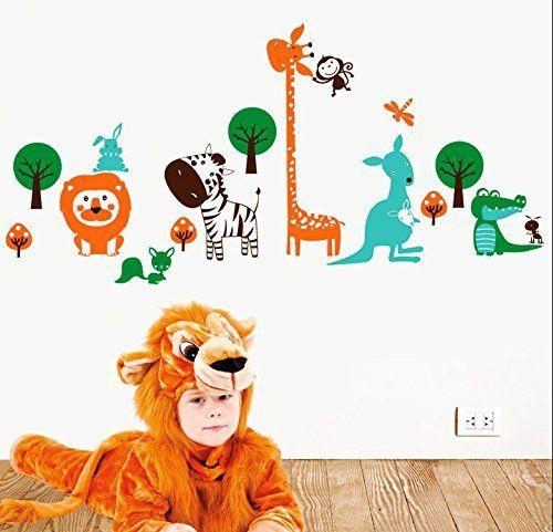 MYVINILO - Vinilo decorativo infantil - Rainforest / verde medio / menta / marrón / naranja (170x80cm) de MYVINILO, http://www.amazon.es/dp/B00VRYDTAQ/ref=cm_sw_r_pi_dp_z8.gxb9JZR26H