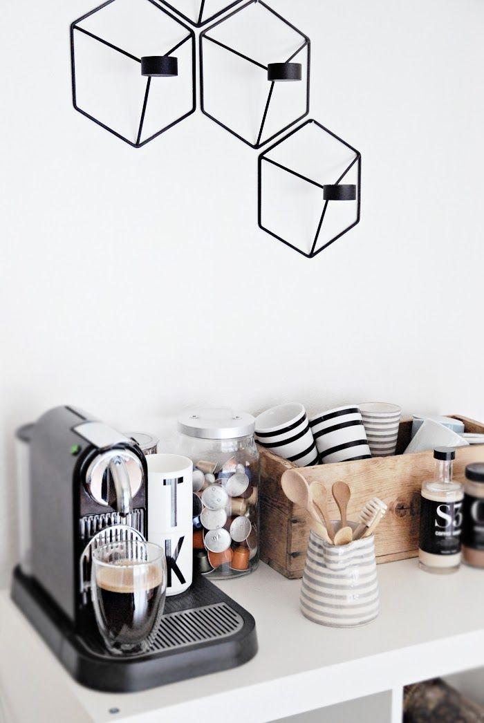 Nespresso,TineK,Menu and Kähler Cozy corner  http://www.nordicblends.nl/nl/producten/menu/p-1-2/Menu-POV-kandelaar-wand-zwart.html