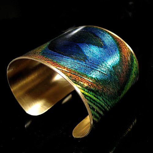 Photo Cuff, Image Cuff, Brass Cuff - Sealed in Resin - PEACOCK FEATHER -