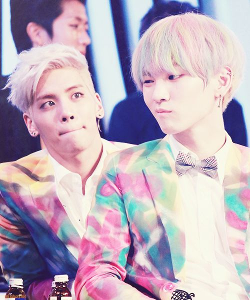 "Jong: ""Key. Key. Key."" Key: ""what?"" Jong: ""your hair looks like cotton candy."" Key: ""so?"" Jong: ""so can I eat it?"" Key: ""you're so stupid..."""
