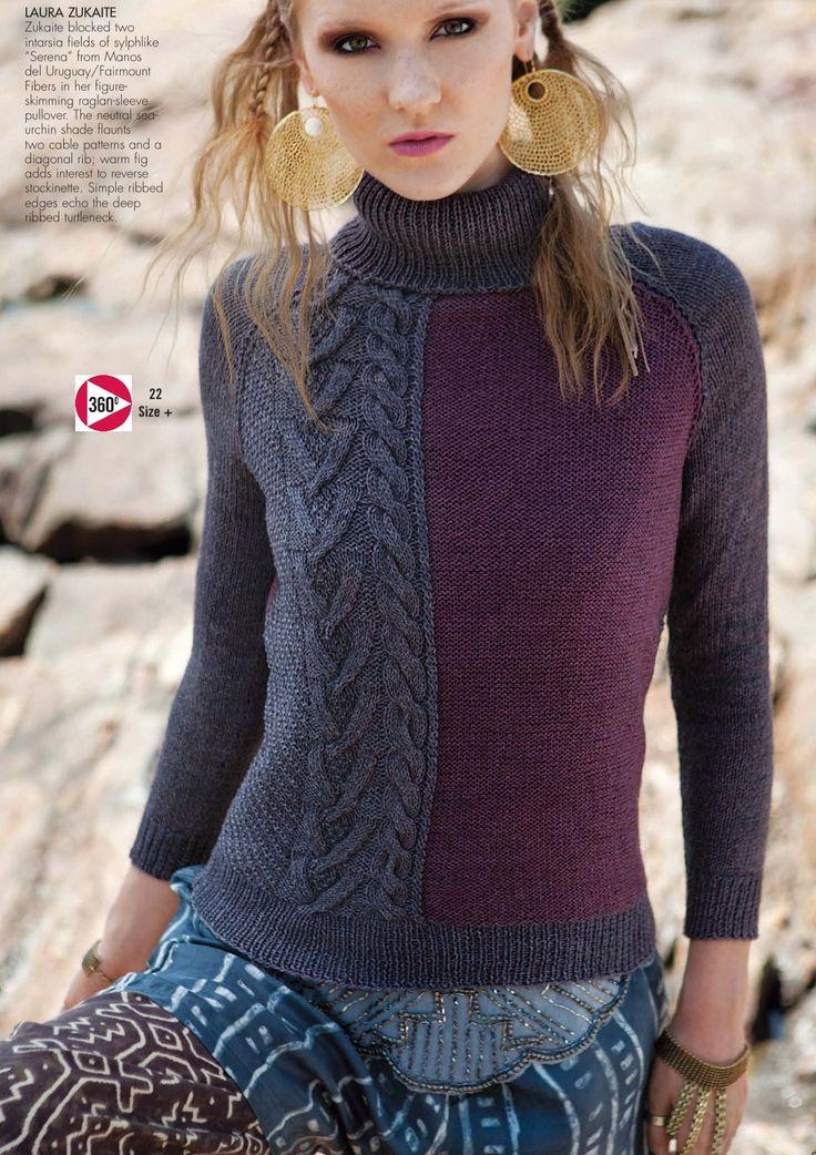 Вязание джемпера спицами Raglan, дизайн 22, Vogue fall 2013