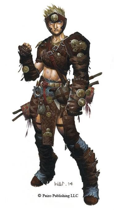 Kess the Brawler - Iconic Character illustration from Pathfinder RPG by Wayne Reynolds