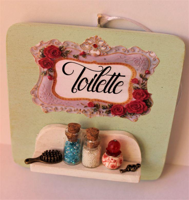 Shabby chic romantic vintage bathroom handmade door hanger wood sign clay miniature, perfume,key -Wall decor by ManthaCreaMiniatures on Etsy