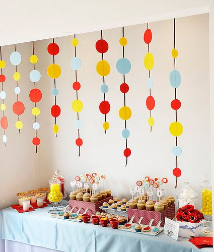 First Birthday Ideas: Polka Dots, Curious George Parties, Birthday Parties, Hanging Decor, 1St Birthday, First Birthday, Parties Ideas, Shower Curtains, Birthday Ideas