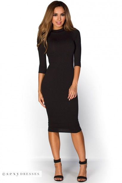 """Marley"" Black 3/4 Sleeve High Neck Bodycon Midi Dress"