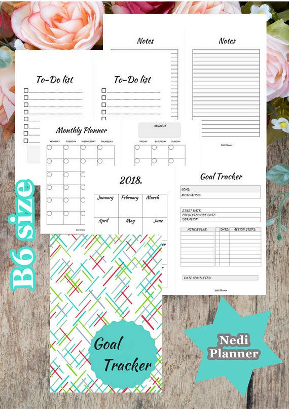 B6 size  Monthly Goal Tracker Goal Planner Printable School
